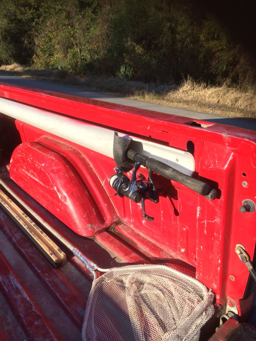 Diy rod holder outdoors camping fishing survival for Truck bed fishing rod holder