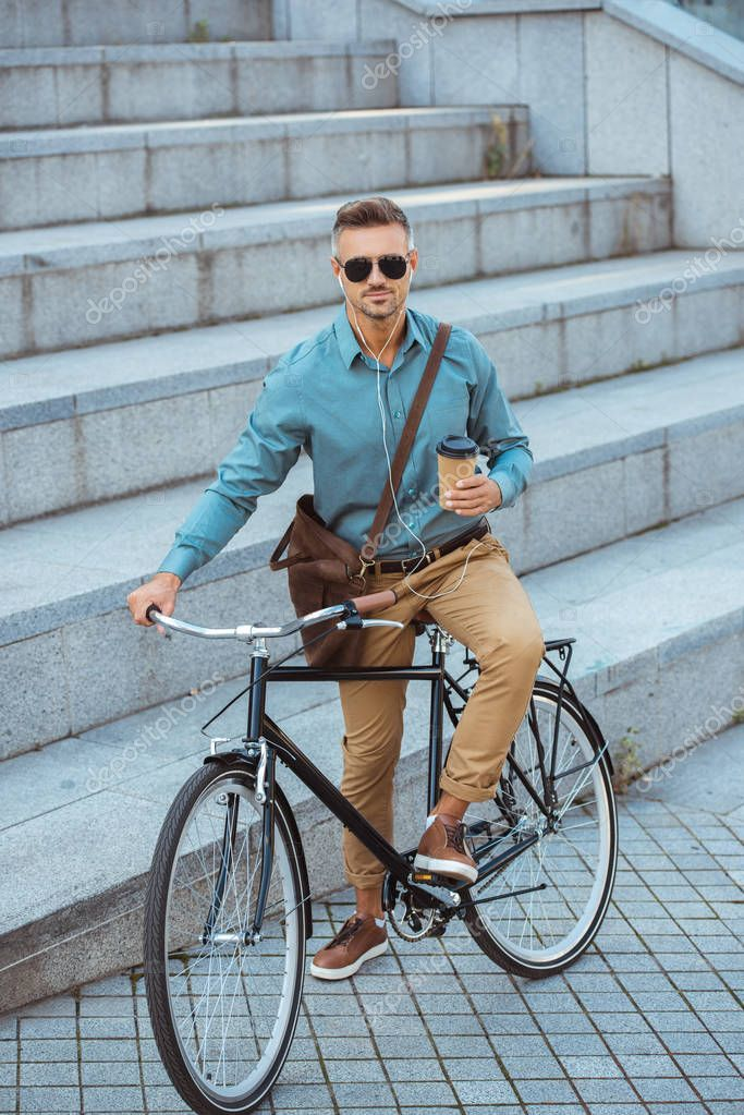 Handsome Man Sunglasses Holding Coffee Looking Camera