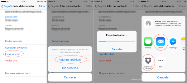 Cómo Exportar Un Chat Por Correo Electrónico Dropbox Etc En Iphone Trucos Para Whatsapp Iphone Borrando Mensajes