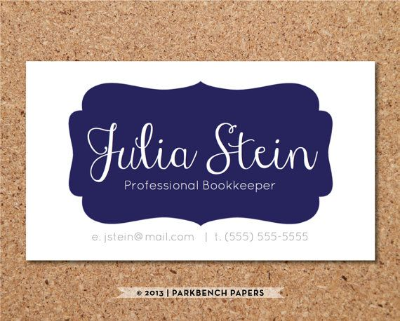 Business Card Template - Navy Frame- DIY Editable Word Template - card word template