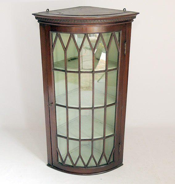 Mahogany Glass Paned Whatnot Corner Shelf In The Georgian Style.