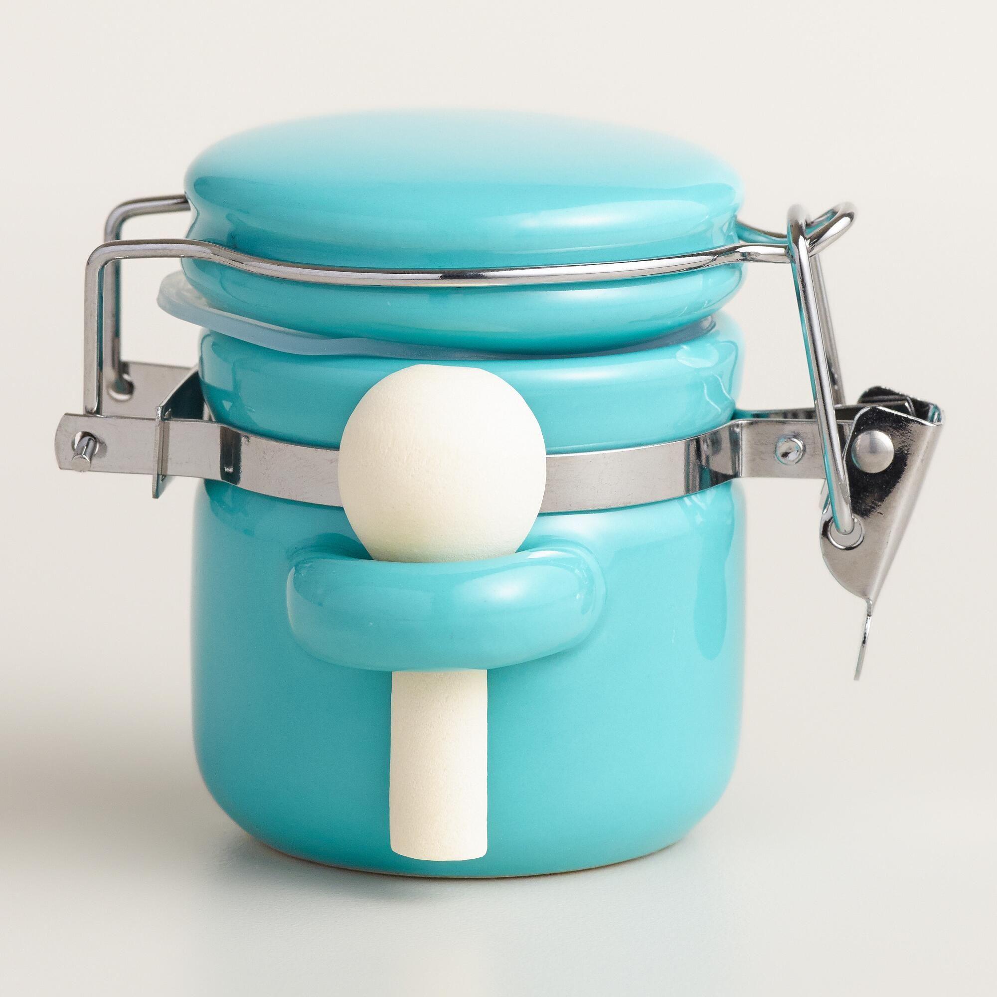 mini aqua ceramic canisters with spoons set of 6