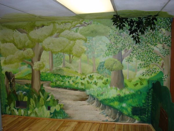 Painting Forest Wall Murals Best Design Of Green Forest Wall