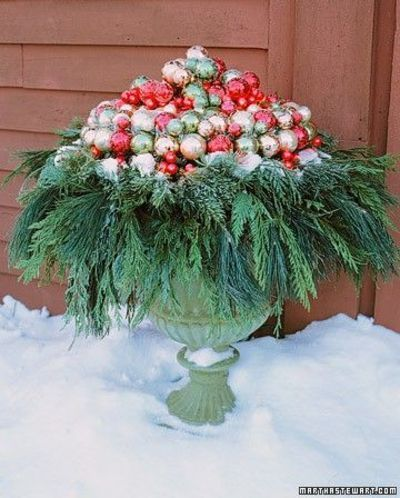 Decorating Urns For Christmas Urn With Greenery And Bulbsmartha Stewart Page Down