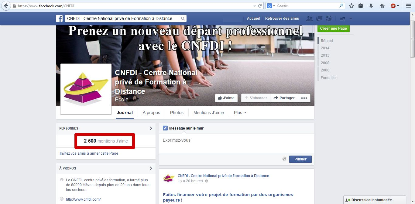 2 500 J'aime sur la page Facebook animée pour le CNFDI