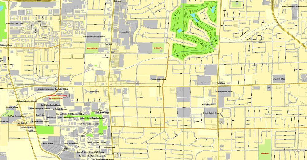 Las Vegas Pdf Map Nevada Us Printable Vector City Plan Editable