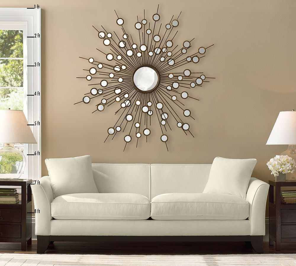 Large Constellation Style Sunburst Mirror Over Contemporary, White Sofa · Living  Room ... Part 62