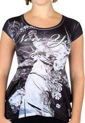 Statue of Liberty Floral Design Black Ladies T-Shirt