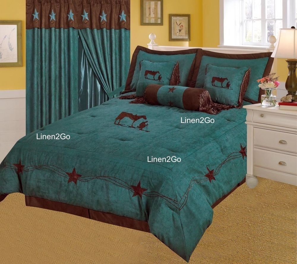 Western Rustic Turquoise Praying Cowboy Embroidery Star Luxury Comforter 7pc Q Linen2go Western Where To Buy Bedding Bed Design Western Rustic