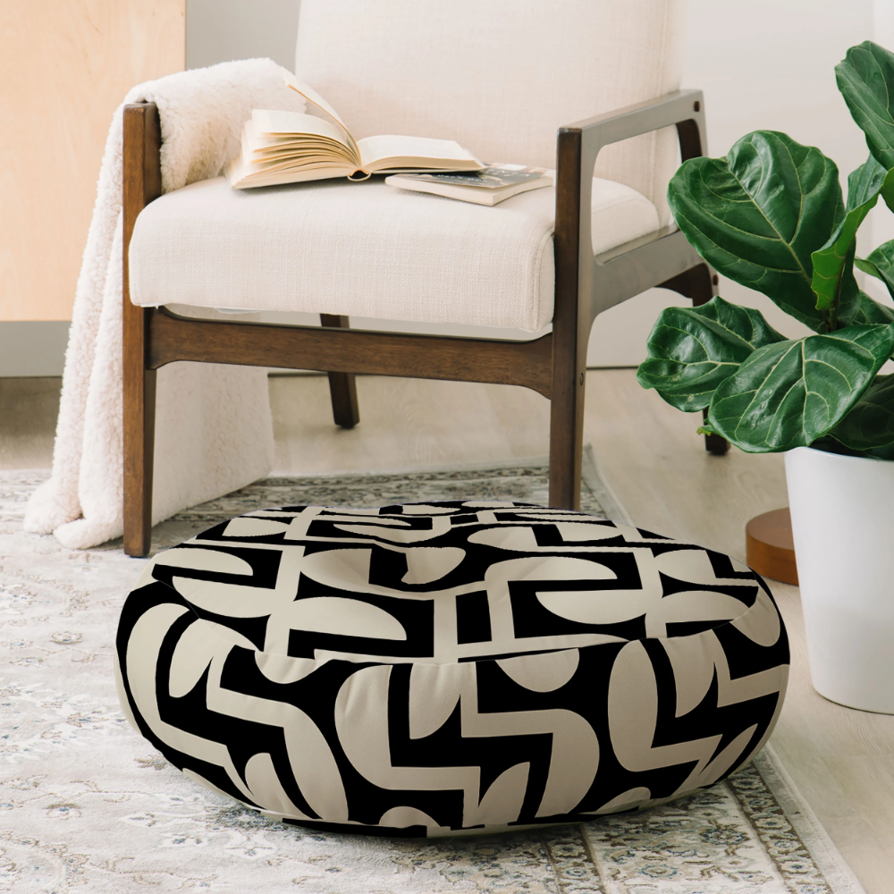 Modern Labyrinth Elegant Floor Pillow Round Mirimo
