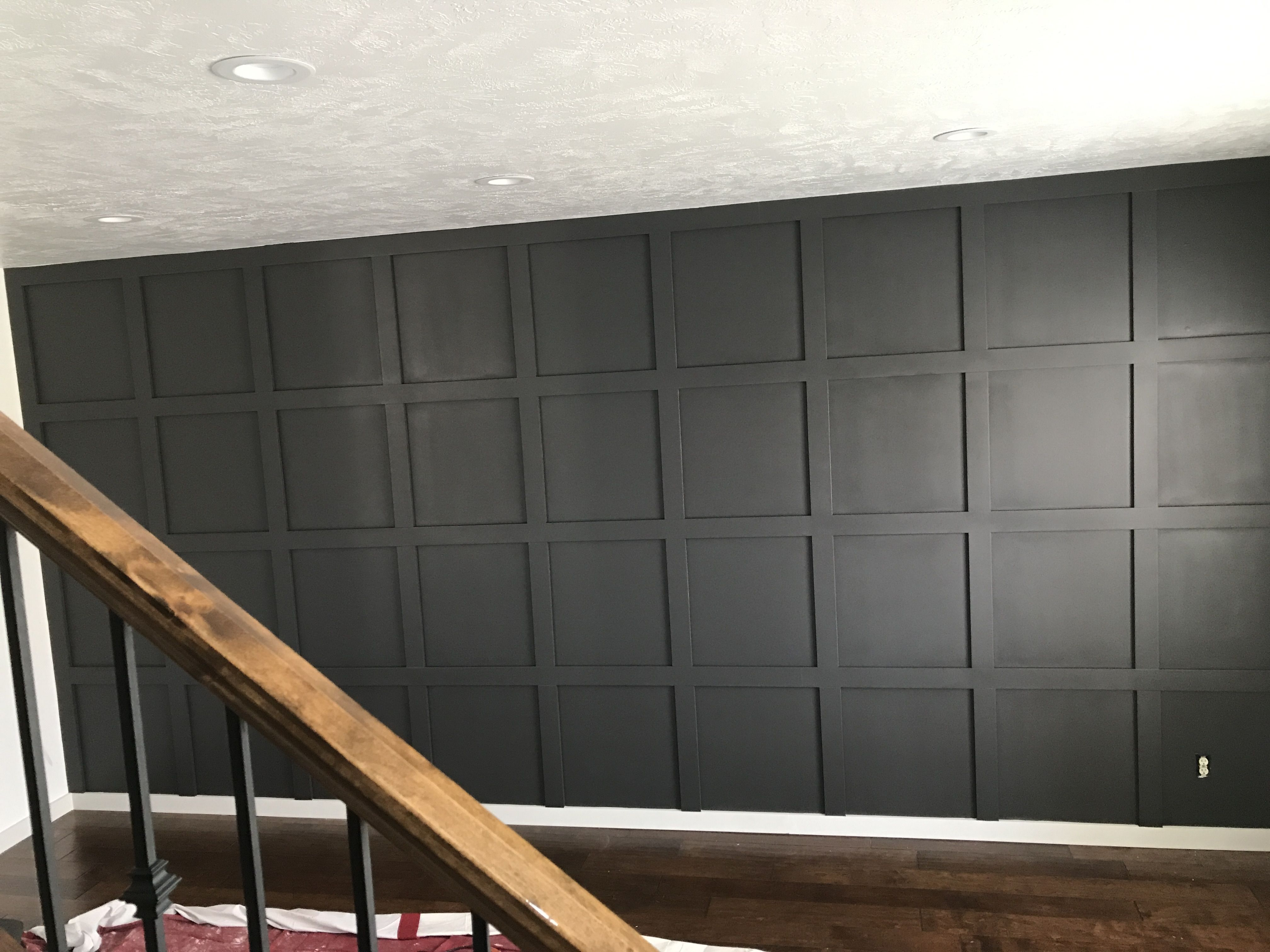 Black Grid Wall Grid Board And Batten Square Board And Batten Basement House Textured Walls Board And Batten