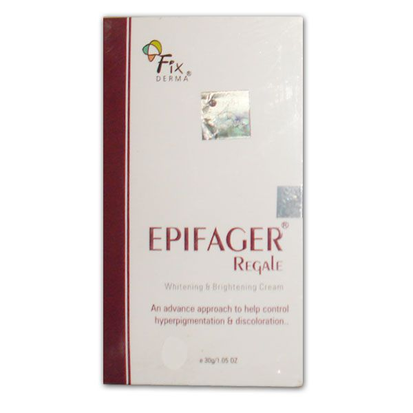 EpiFager Regale _Whitening & Brightening Cream_30 Gm Epifager regale is a unique skin treatment cream that features a blend of ingredients that brighten and even the skin tone, reducing the appearance of dark spots.