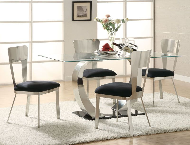"""""""Eris"""" Contemporary Rectangular Glass Top Table & Chairs"""