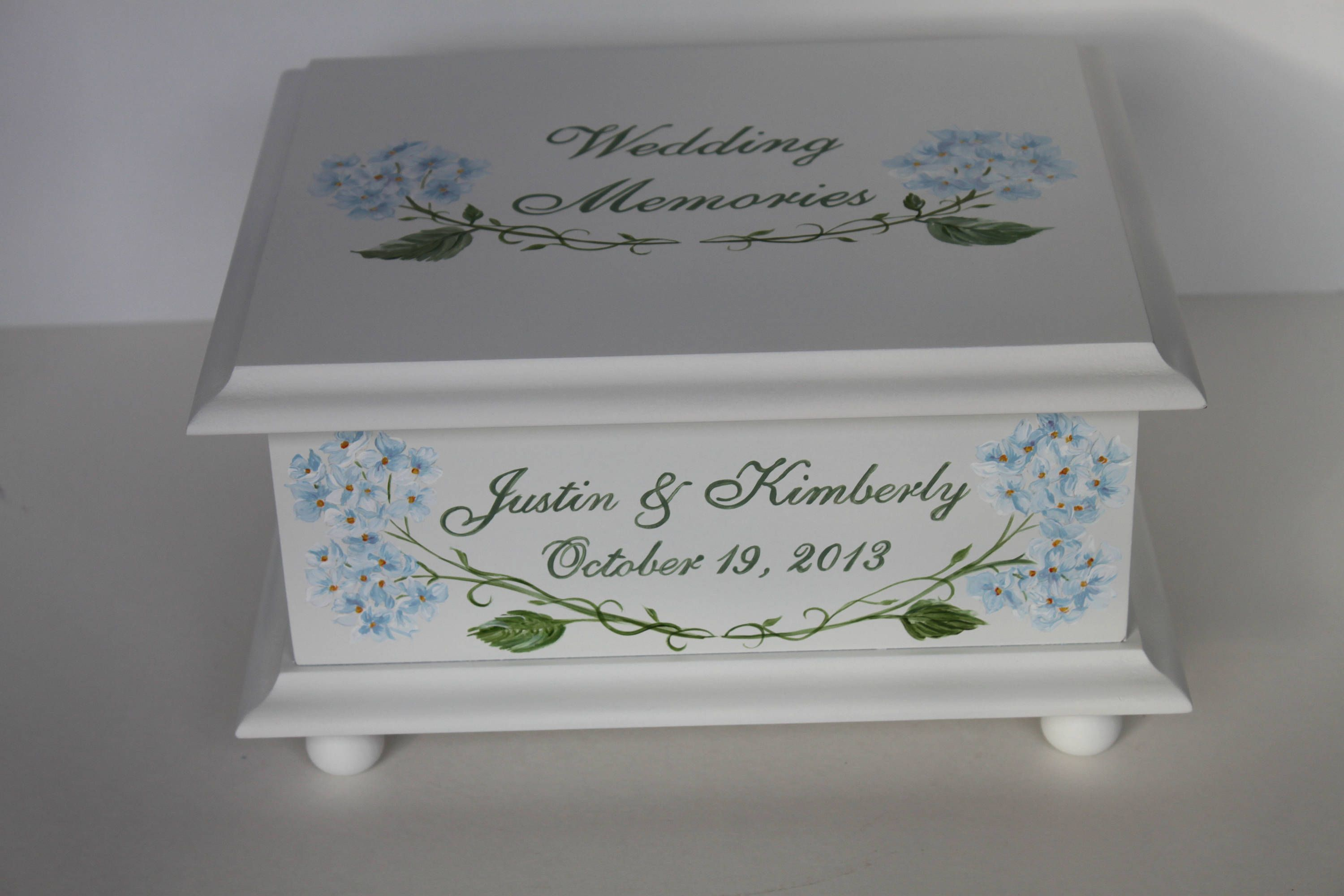 Wedding Keepsake Box Memory Box Hydrangea Hand Painted Personalized