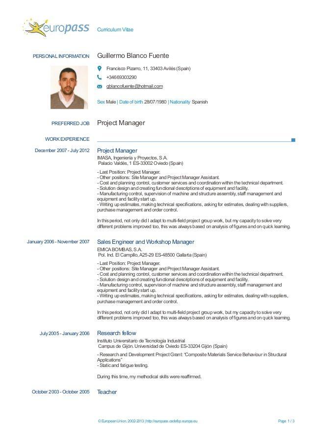 Europa Cv Format Google Docs Resume Template Filled Put For In 2021 Cv Format Cv Template Cv Design Template