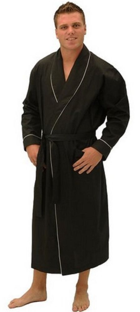 e67d970f86 Men s Lightweight Full Length Black Bathrobe Pool Beach 100% Cotton Robe  Quality  DelRossa  Robes
