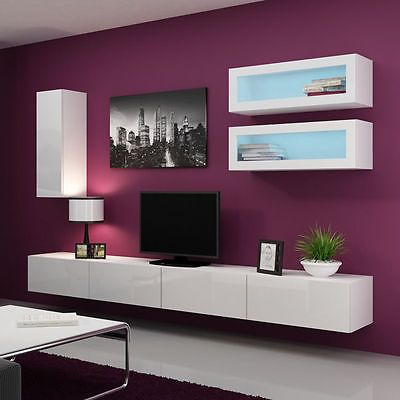 High gloss tv wall unit led floating wall mountable unit tv stand vigo 11 kim pinterest - Muebles room vigo ...