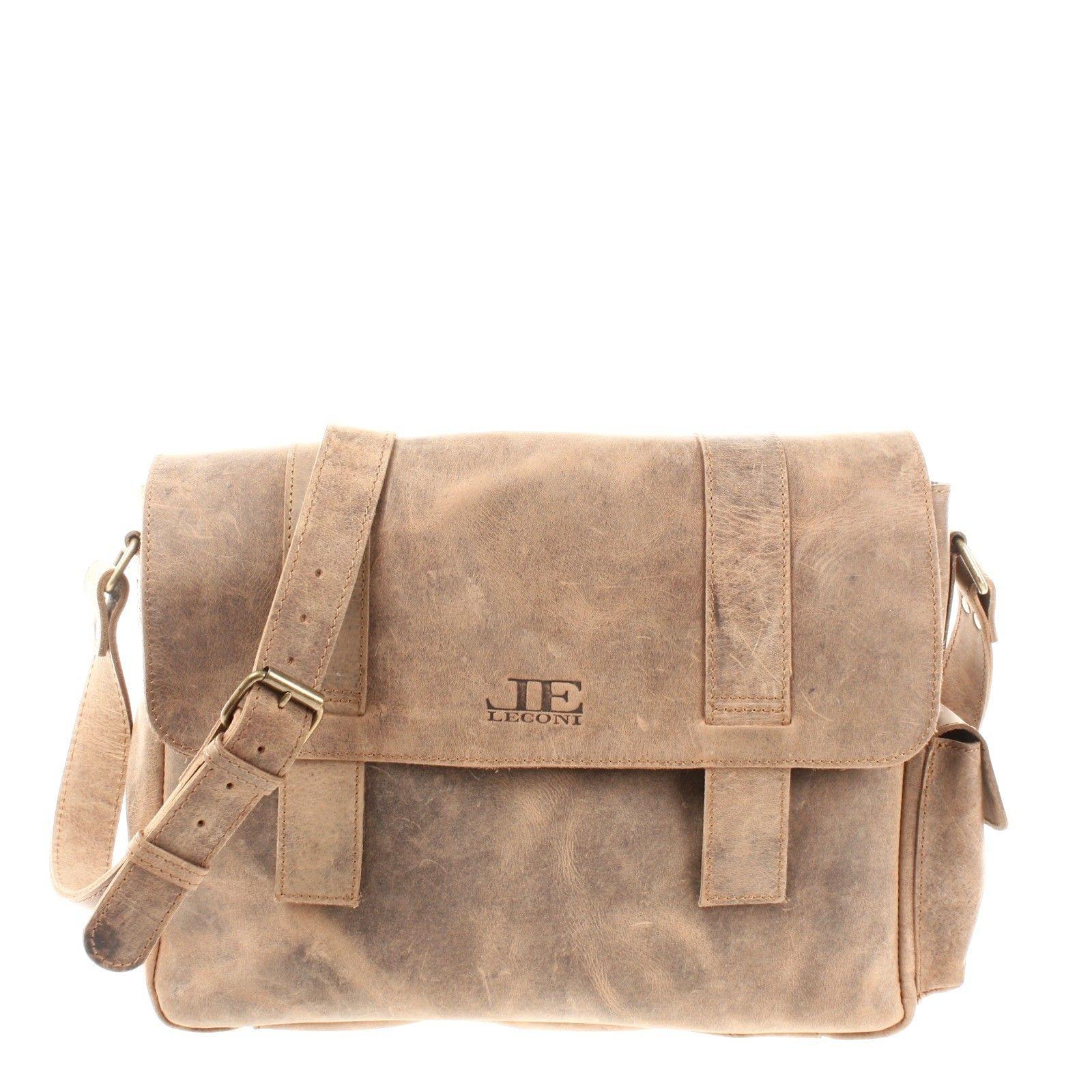 d7faf254f5a1a LECONI Messenger Bag Aktentasche Kuriertasche Vintage Leder braun LE3031