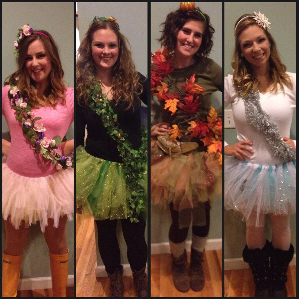 Four seasons Halloween costume. Easy to make. Low cost. DIY. #springsummerfallwinter #halloweencostumeswomen