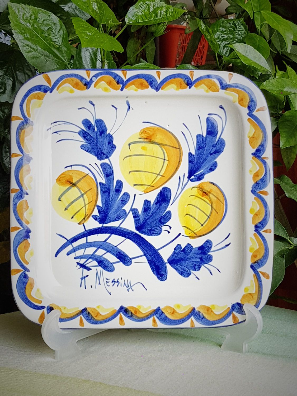 Come Appendere Piatti In Ceramica ceramic decorative plate. square plate. ketty messina