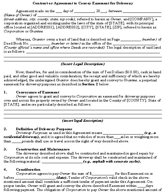 Contract or Agreement to Convey Easement for Driveway template - house sale contract
