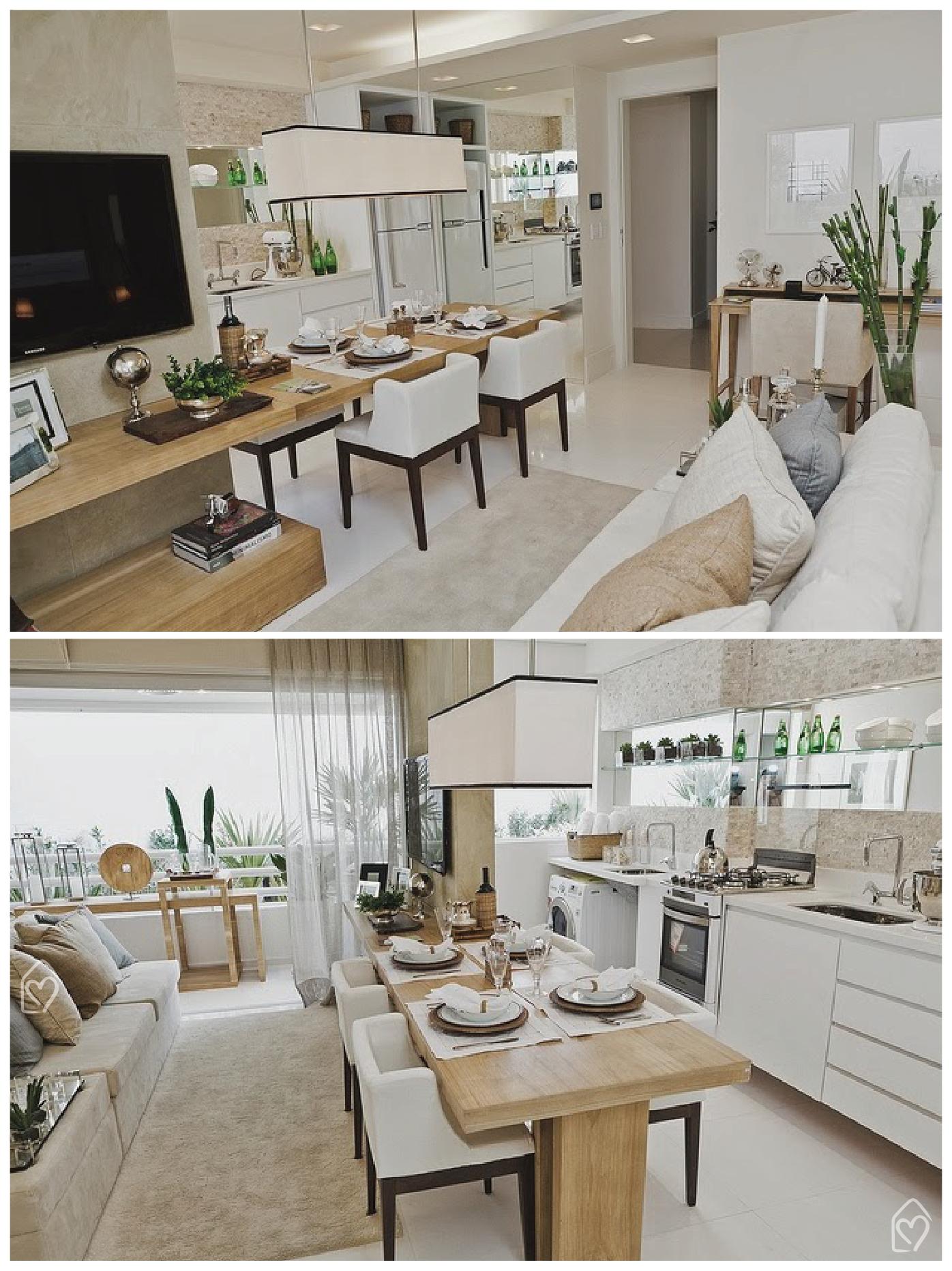 Tudo Integrado Dicas Apartamentos Pequenos Pequena Cozinha  -> Cozinha Integrada Com Sala De Jantar Pequena