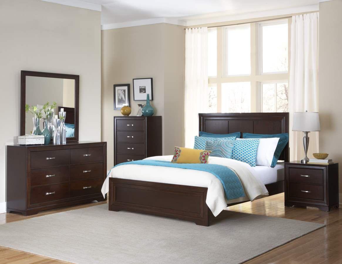 Hendrick warm cherry wood metal glass master bedroom set bedrooms