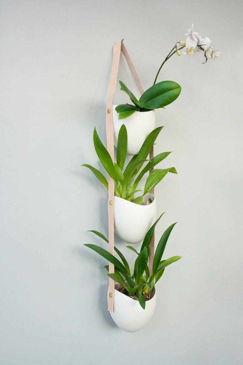 3 tier porcelain and leather planter by lightandladder on Etsy https://www.  Q PhotoCeramic PlantersHanging ...