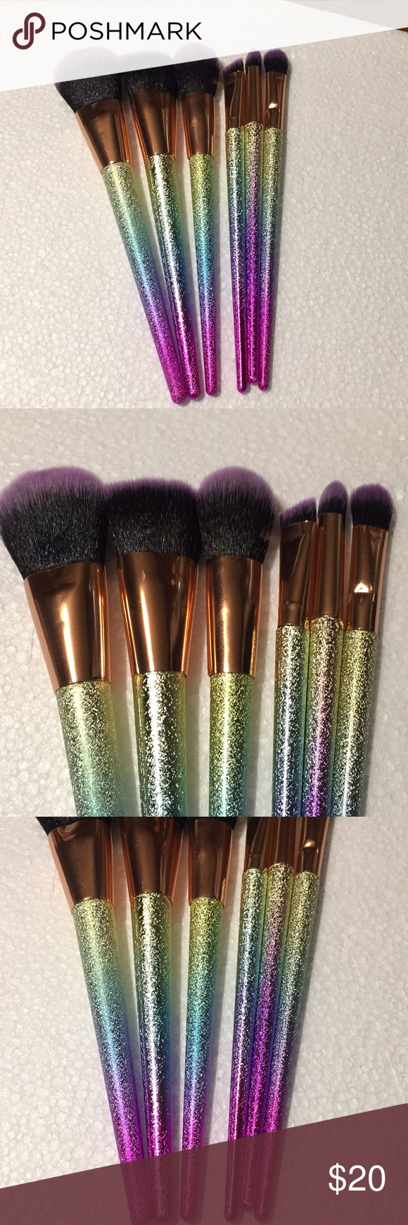 RAINBOW MAKEUP BRUSHES SET OF 6 NWT PURPLE TIPPED RAINBOW