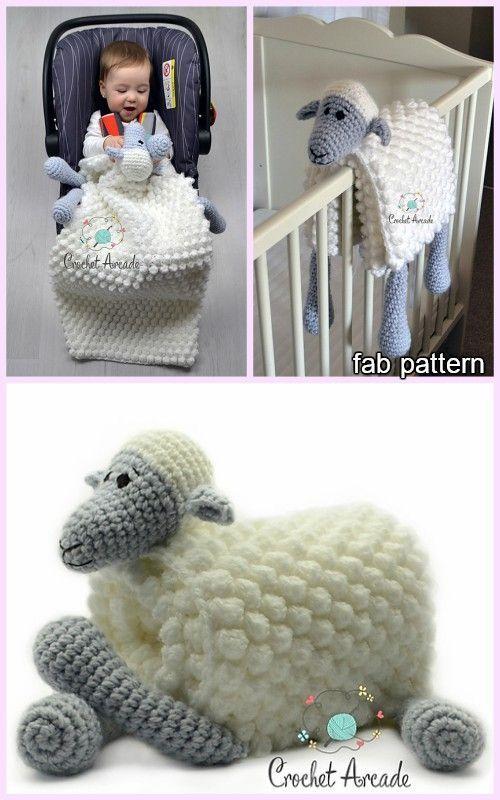Cuddle and Play Sheep Blanket Häkelanleitung #crochetsecurityblanket