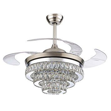 Rs Lighting European Crystal Ceiling Fan 42 Inch With Retractable Four Blades And Remote Co Ceiling Fan Chandelier Ceiling Fan With Light Ceiling Fan Light Kit