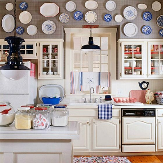 A Country Farmhouse Decorated With Red White And Blue Kitchen