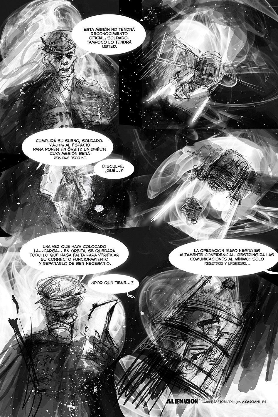 """""""AlieNación"""" (p5) novela gráfica con guión de Federico Sartori y dibujos de Andrés Casciani - 2016 para Alquimia Comics: https://alquimiacomics.wordpress.com/  http://andrescasciani.com/"""