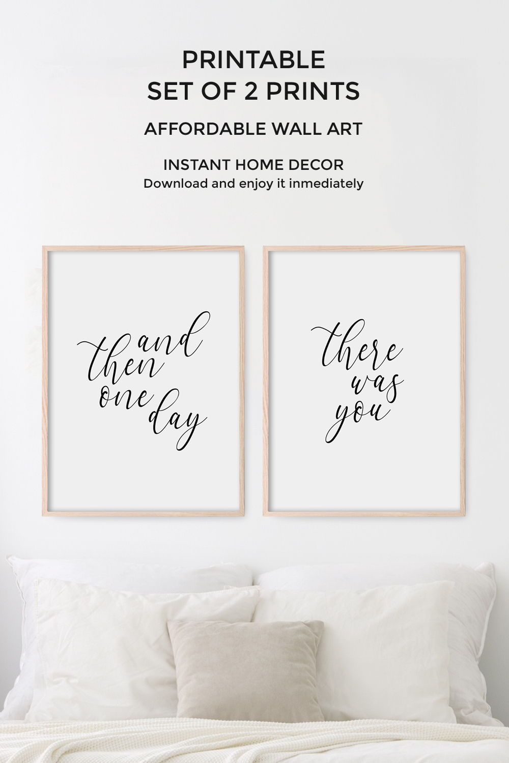 Bedroom Wall Decor Set Of 2 Prints Love Quote For Bedroom Printable Wall Art And Then One Day Th Wall Decor Bedroom Wall Art Quotes Wall Printables