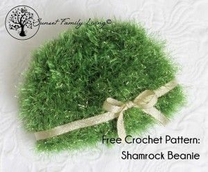 shamrock beanie free crochet pattern from Sunset Family Living, st patrick's day beanie