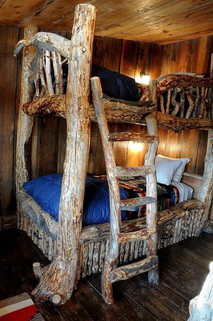 Masculine Rustic Interiors Design Bunk Room Has Two Sets Of