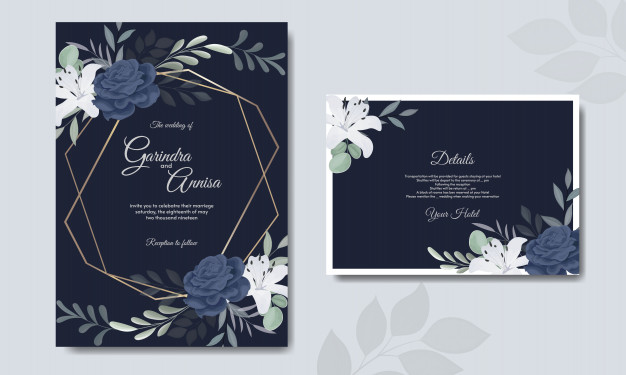 Elegant Wedding Invitation Card Template With White Flower Navy Blue Elegant Wedding Invitation Card Flower Wedding Invitation Wedding Invitation Cards