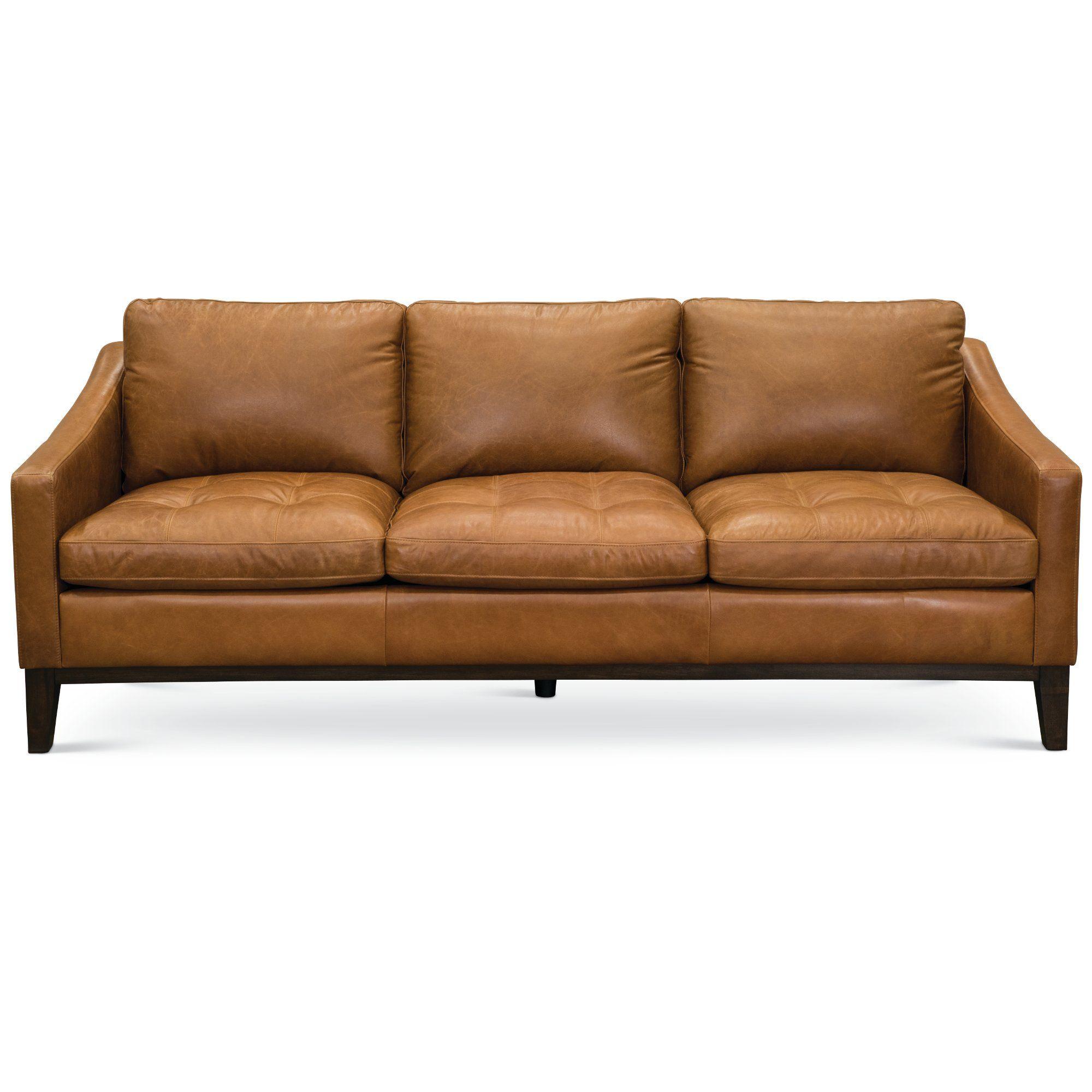 - Mid Century Modern Chestnut Brown Leather Sofa - Monza Brown