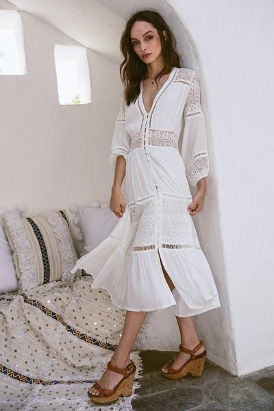 3e51fc7f1db6 V-neck Lace Stitching White Cotton Wrinkle Long Sleeve Maxi Dresses ...