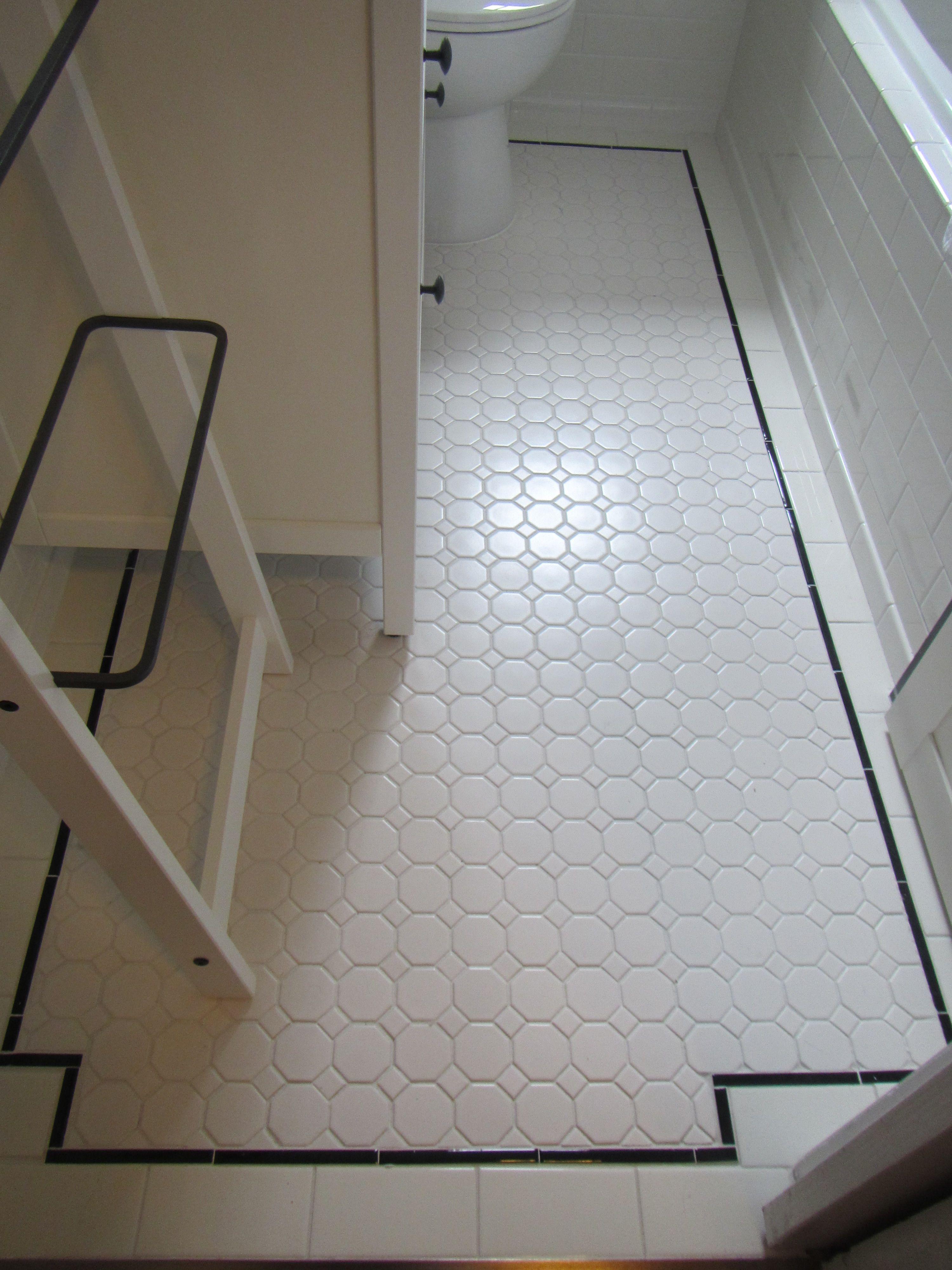 My bathroom reno: Floor with hexagon tile, subway tile, & pencil ...