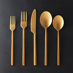 20-Piece Rush Brushed Gold Flatware Set