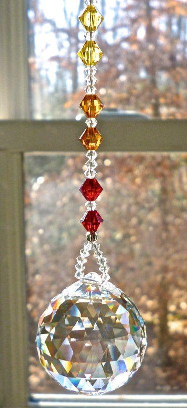 Sustancialmente fibra sesión  Swarovski Crystal Ball on Chakra Colored Strand, Crystal Sun Catcher,  Hanging Crystal, Rainbow Maker, Window Ornament,