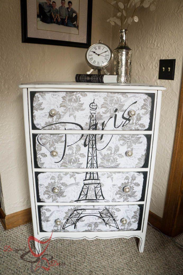 Eiffel tower dresser crafts diy paris room decor - Dresser for small room ...