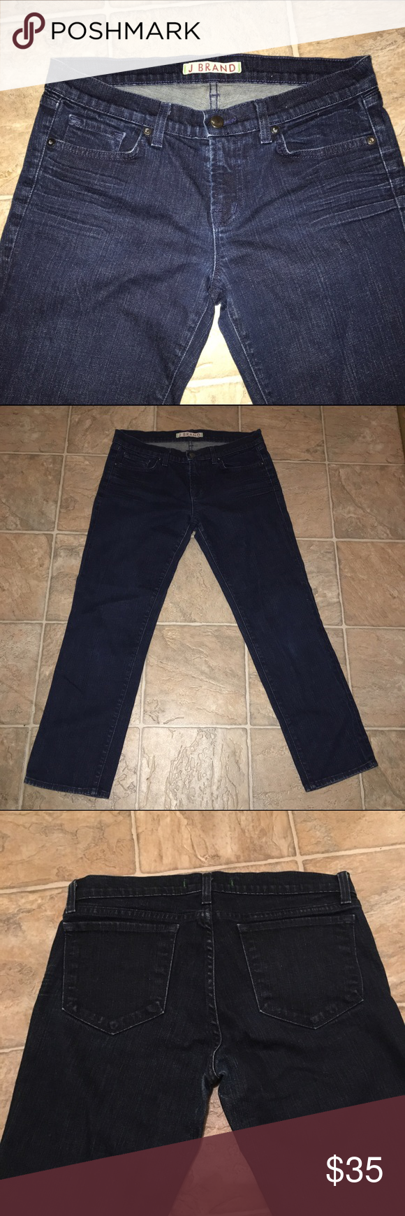 "J Brand Baby Boot Cropped Jeans 26.5""  inseam for a cute cropped look, perfect paired with your favorite slip-ons or sneakers! 7"" leg opening, 2% lycra for some stretch. waist measures 16"" J Brand Jeans Ankle & Cropped"