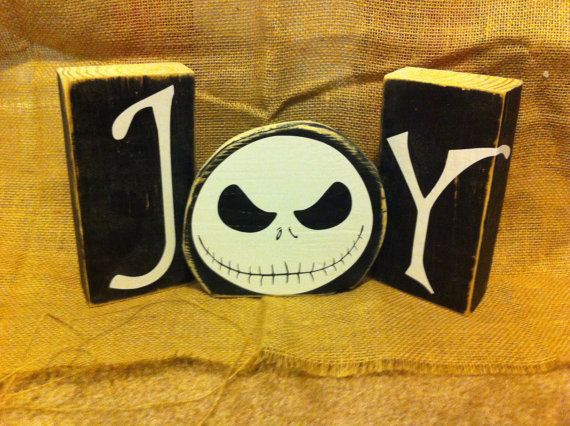 Nightmare Before Christmas - JOY blocks - Jack Skeleton Christmas - the nightmare before christmas decorations