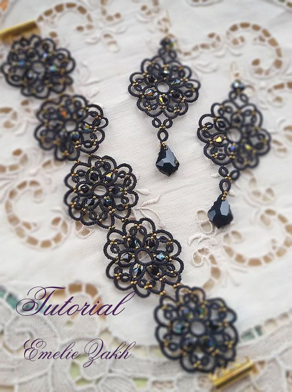 Black lace jewelry.PDF Tatting Pattern Tamara set earrings and ...