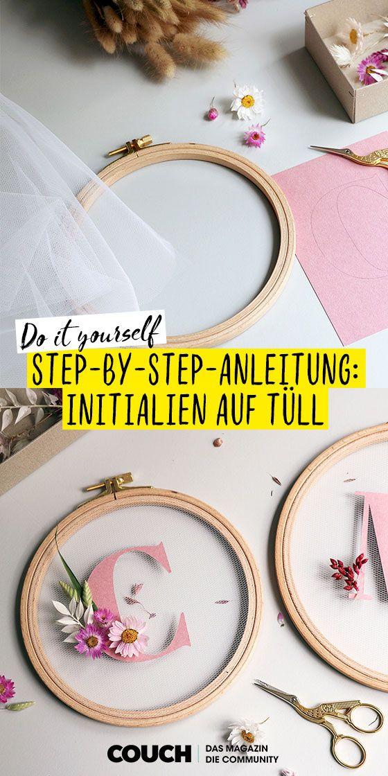 DIY-Anleitung: Blumige Initialien auf Tüll