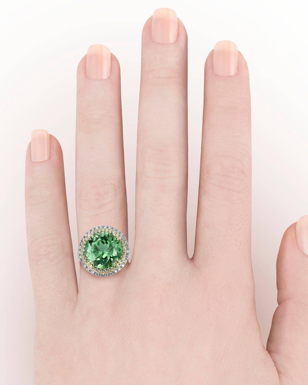 8.06 Carat Green Paraiba Tourmaline Diamond Gold Platinum Ring ...