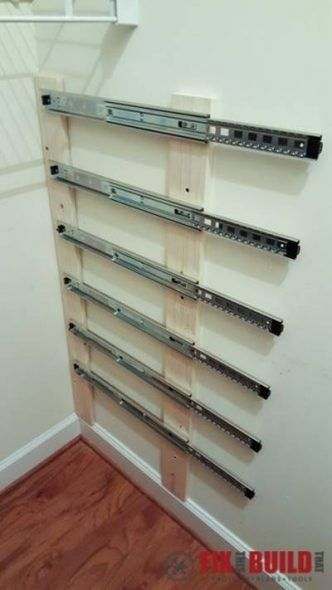 He Installs Drawer Sliders In Closet For Pull Out Closet Storage   Cool Idea