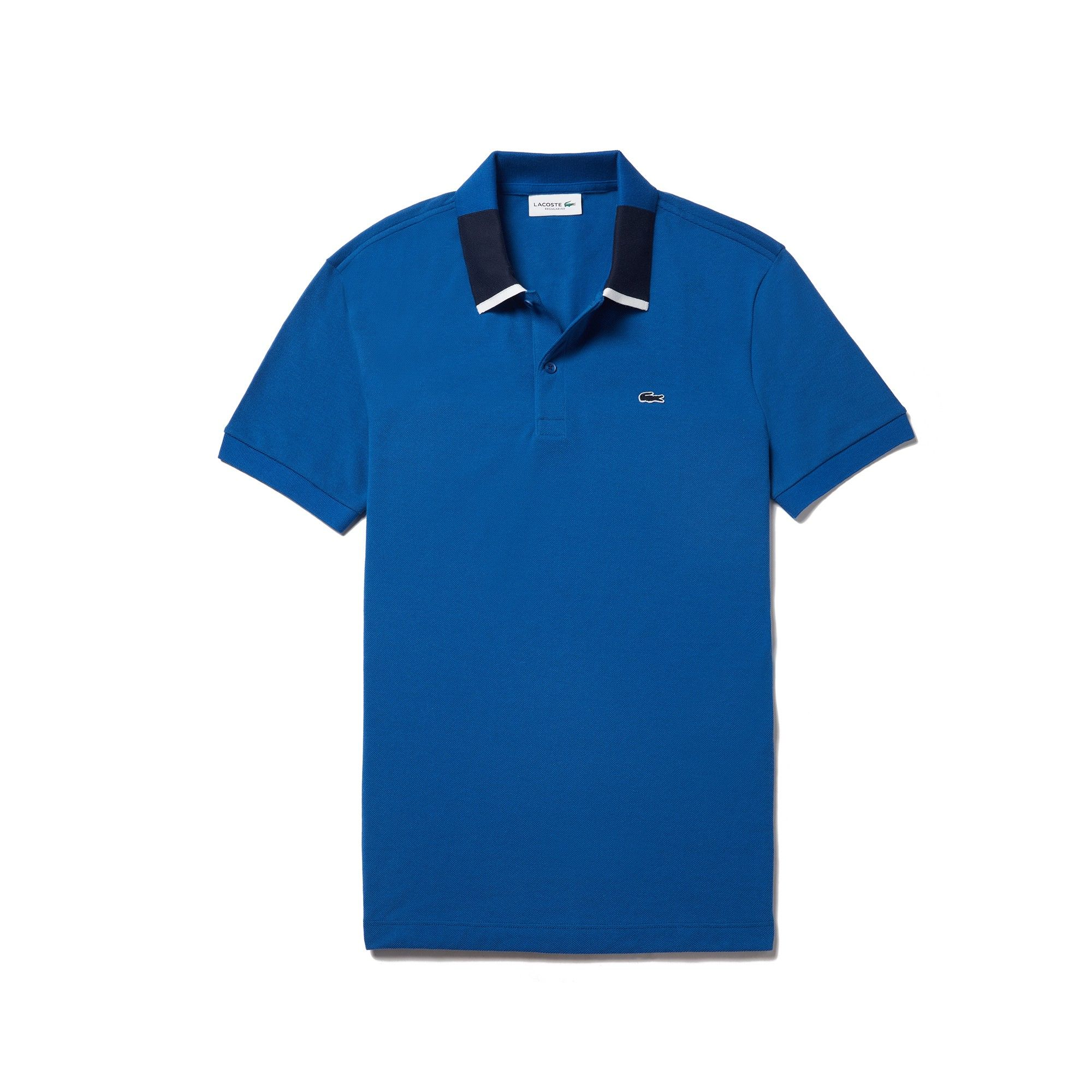 a6880011dfb8 Lacoste Men s Regular Fit Contrast Piqué Polo - Electric Blue Navy Blue-W  3Xl